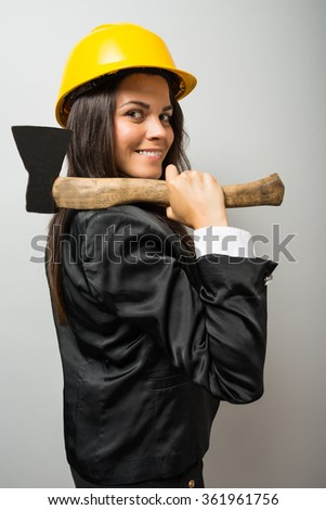 young woman with an ax helmet