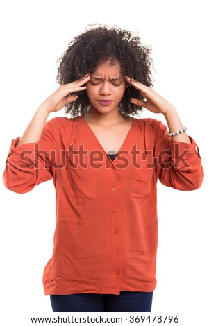 Young woman with an headache, isolated over a white background - stock photo