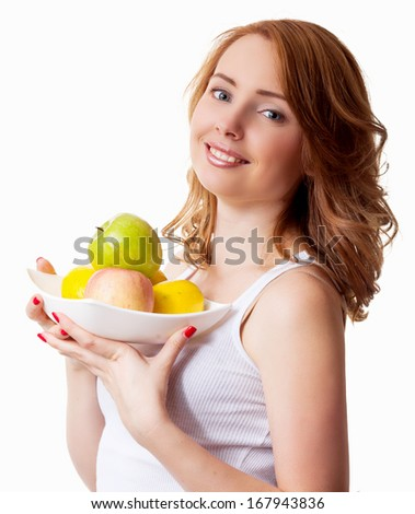 young woman with apples, isolated against white background