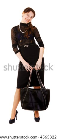 young woman with bag isolated on white background