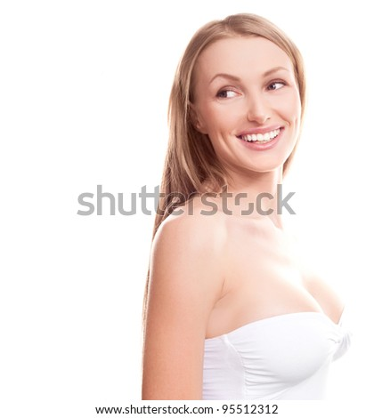 young woman with beautiful breast, isolated against white background - stock photo