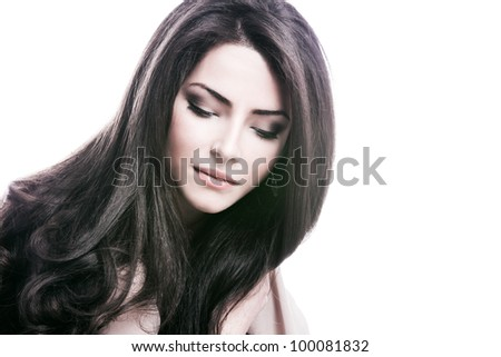 young woman with beautiful long healthy dark  hair - stock photo