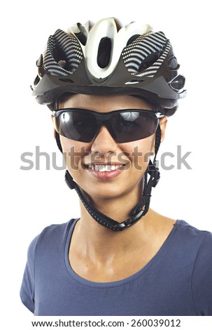 Young woman with bicycle helmet - stock photo