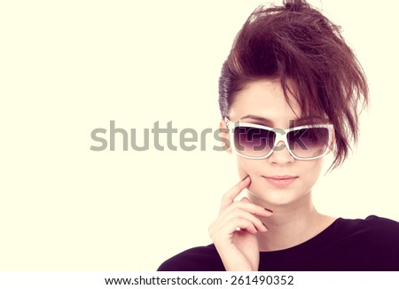 Young woman with black sunglasses-close up - stock photo