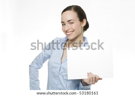 young woman with blank board in hand - stock photo