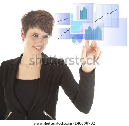 Young woman with blue virtual graph isolated on white background