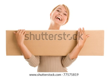 Young woman with board box - stock photo