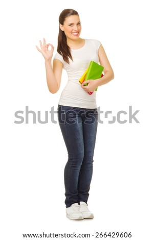 Young woman with books isolated - stock photo