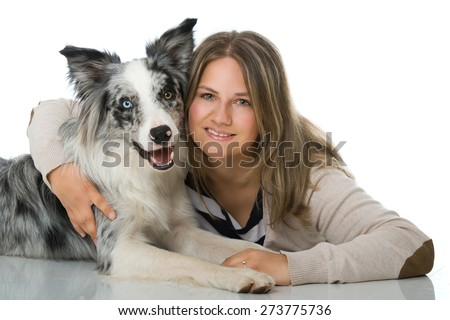Young woman with border collie dog