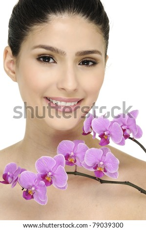 young woman with branch pink flower