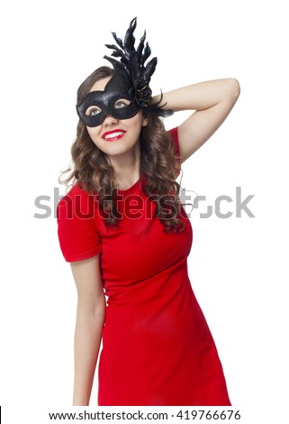 Young woman with carnival mask on white background
