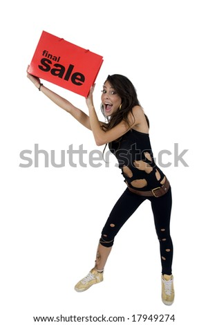 young woman with carry-bag against white background - stock photo