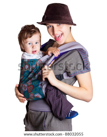 young woman with child isolated on white