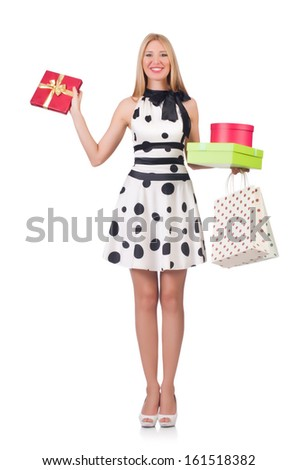 Young woman with christmas shopping on white - stock photo