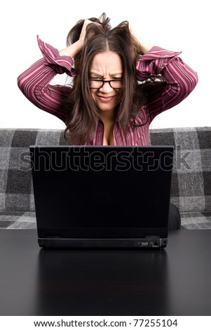 Young woman with computer problems