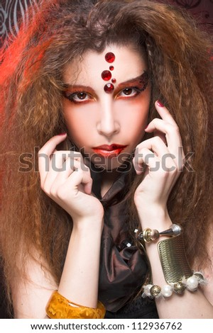 Young woman with creative visage