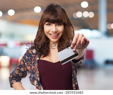 young woman with credit car - stock photo