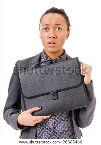 young woman with dark skin in a business suit afraid - stock photo