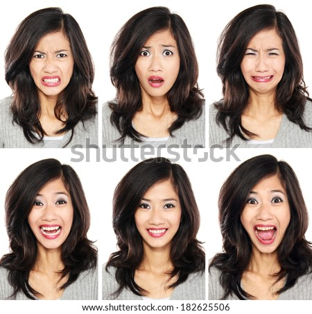 young woman with different facial expression face set isolated on white background - stock photo