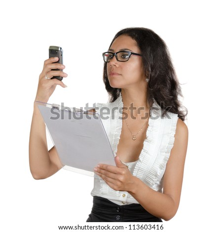 Young woman with different facial expressions. A secretary, executive making calls. Body language. Happy, surprised, thinking. Isolated on white . - stock photo