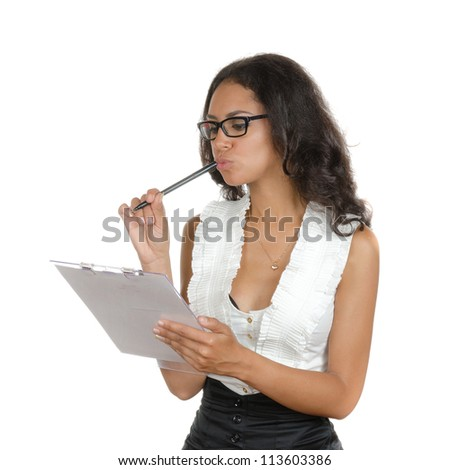 Young woman with different facial expressions. A secretary, executive making notices. Body language. Happy, surprised, thinking. Isolated on white . - stock photo