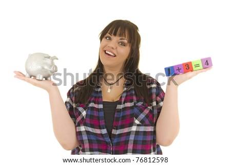 Young woman with equation and piggy bank.  conceptual saving theme - stock photo