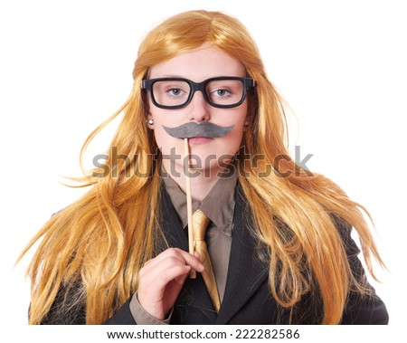 young woman with fake mustache dressed up as a man - stock photo