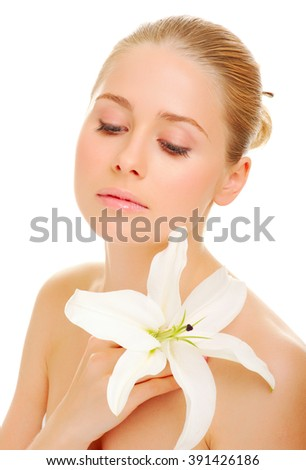 Young woman with flower isolated - stock photo