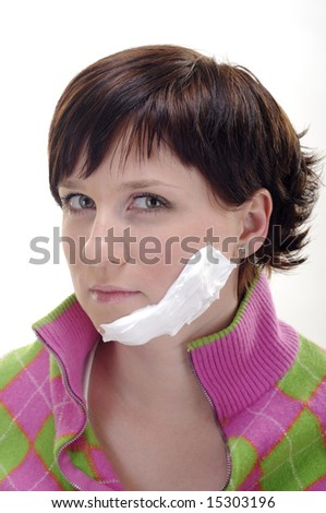 young woman with foam on face and rage in eyes