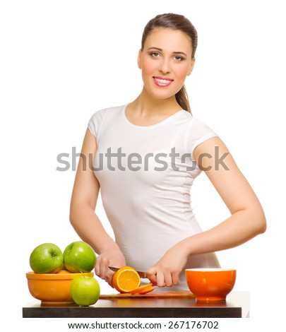Young woman with fruits isolated - stock photo