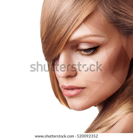 Young woman with geometrical shapes on face