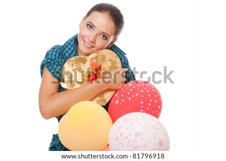 young woman with gift and balloons for happy birthday over white background - stock photo