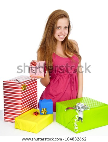Young woman with gifts . isolated on white background
