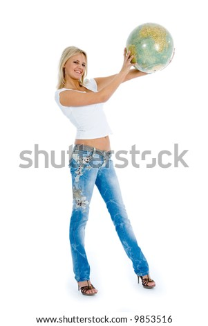 Young woman with  globe on  isolated background