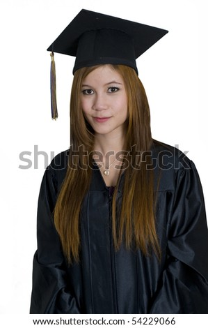 Young woman with graduation cap and gown - stock photo