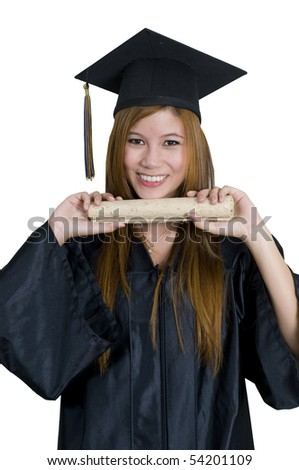 Young woman with graduation cap and gown holding diploma - stock photo