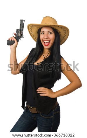 Young woman with gun isolated on white - stock photo