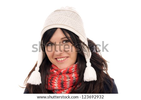 Young woman with hat and scarf / Young Woman - stock photo