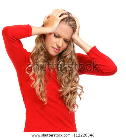 young woman with headache isolated on white - stock photo