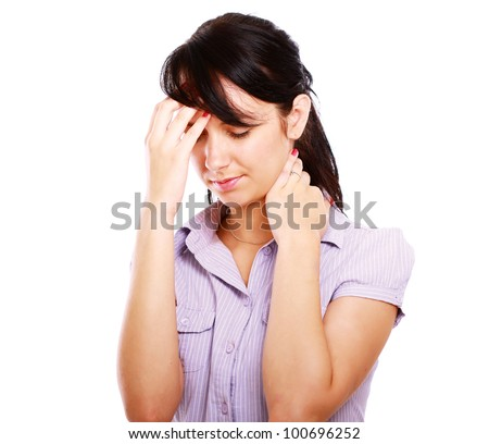 Young woman with headache isolated on white background - stock photo
