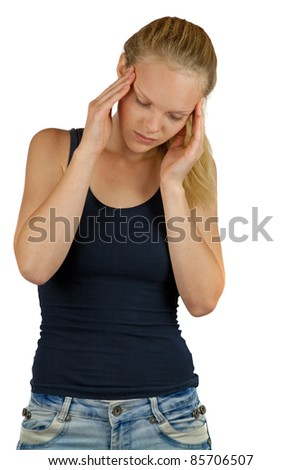 Young woman with headache on white background - stock photo