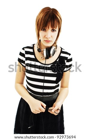Young woman with headphones. Isolated on white background - stock photo