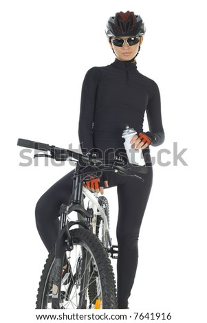 Young woman with helmet and sunglasses, sitting on mountain bike. White background, front view