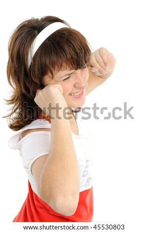 Young woman with his hands covering his ears not to hear noise. - stock photo