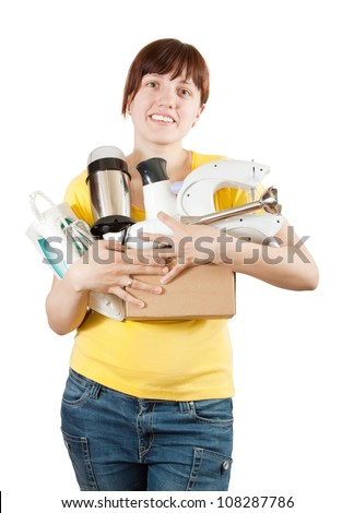 young woman with household appliances over white - stock photo