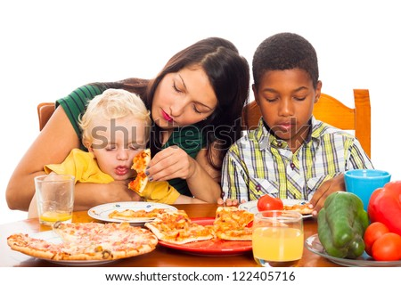Young woman with kids eating pizza, isolated on white background.