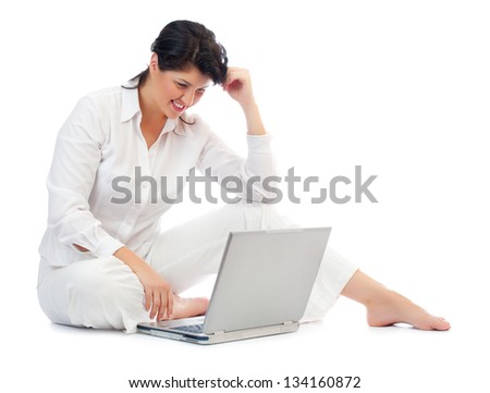 Young woman with laptop isolated - stock photo