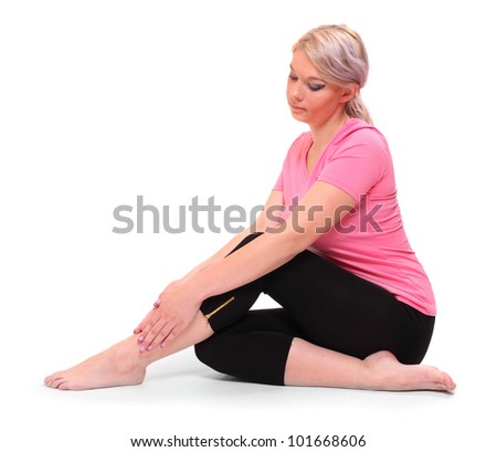 Young woman with legs pain. - stock photo