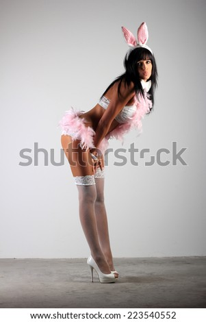 young woman with lingerie as a bunny, Underwear - stock photo