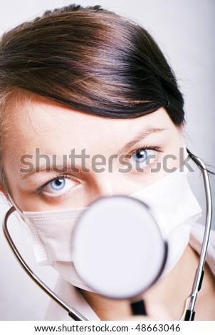 young woman with med tool